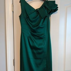 Emerald Green Satin Evening Dress Size 6
